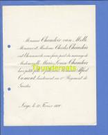 FAIRE PART MARIAGE 1890 CHAUDOIR VAN MELLE CHARLES MARIE LOUISE ALFRED CUMONT LIEUTENANT  1 ER REGIMENT DE GUIDES LIEGE - Mariage