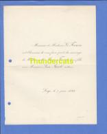 FAIRE PART MARIAGE 1894 FRESON MARIE LEON JACOB NOTAIRE LIEGE - Hochzeit
