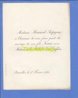 FAIRE PART MARIAGE 1888 HENRARD SEIPGENS LOUIS MATHILDE VAN ZUYLEN ZUIJLEN BRUXELLES - Mariage