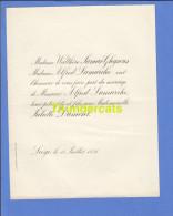 FAIRE PART MARIAGE 1891 WALTHERE JAMAR GHYSENS ALFRED LAMARCHE JULIETTE DUMONT LIEGE - Mariage