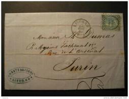 ITALY Livorno 1866 To Turin Torino Folded Letter Italia Italie - 1861-78 Victor Emmanuel II.