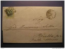 Alessandria 1869 To Biella Per Valle Mosso 171 Cancel Stamp On Folded Letter Cover ITALY Italia - 1861-78 Victor Emmanuel II.