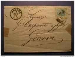 Modena 1870 To Genova 18 Cancel Stamp On Folded Letter Cover ITALY Italia - 1861-78 Victor Emmanuel II.