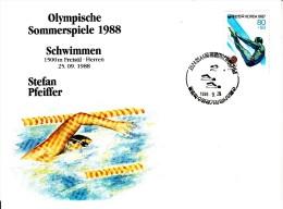 Korea, South Cover Scott #B46 Swimming Medal Winner Stefan Pfeiffer - Summer Olympics 1988 Seoul - Ete 1988: Séoul