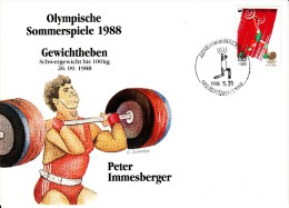 Korea, South Cover Scott #B35 Weightlifting Medal Winner Peter Immesberger - Summer Olympics 1988 Seoul - Ete 1988: Séoul