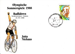 Korea, South Cover Scott #B26 Cycling Medal Winner Jutta Niehaus - Summer Olympics 1988 Seoul - Ete 1988: Séoul