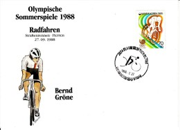 Korea, South Cover Scott #B26 Cycling Medal Winner Bernd Grone - Summer Olympics 1988 Seoul - Ete 1988: Séoul