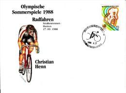 Korea, South Cover Scott #B26 Cycling Medal Winner Christian Henn - Summer Olympics 1988 Seoul - Ete 1988: Séoul