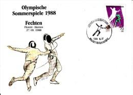 Korea, South Cover Scott #B28 Fencing Medal Winner Men's Foil Team - Summer Olympics 1988 Seoul - Ete 1988: Séoul