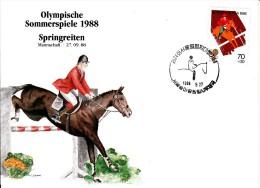 Korea, South Cover Scott #B27 Equestrian Medal Winner Nicole Uphoff Individual Dressage - Summer Olympics 1988 Seoul - Ete 1988: Séoul