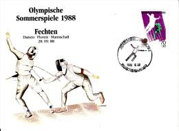 Korea, South Cover Scott #B28 Fencing Medal Winner Women's Team Foil - Summer Olympics 1988 Seoul - Ete 1988: Séoul