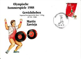 Korea, South Cover Scott #B35 Weightlifting Medal Winner Martin Zawieja - Summer Olympics 1988 Seoul - Ete 1988: Séoul