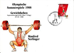 Korea, South Cover Scott #B35 Weightlifting Medal Winner Manfred Nerlinger - Summer Olympics 1988 Seoul - Ete 1988: Séoul