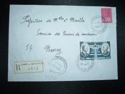LR TP DAURAT ET VANIER 5,00 + BEQUET 0,50 OBL.8-4-1976 PONT A MOUSSON (54 MEURTHE ET MOSELLE) GRIFFE LINEAIRE - Storia Postale