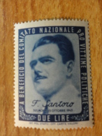 Sindicato Nazionale Victime Politiche WW2 F SANTORO 1945 Vignette Poster Stamp Italia Italy Italie - 5. 1944-46 Lieutenance & Umberto II