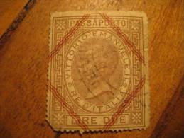 Passaporto Vittorio Emanuele II Revenue Fiscal Tax Postage Due Official ITALY Italia - Steuermarken