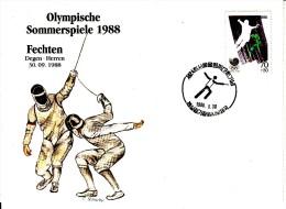 Korea, South Cover Scott #B28 Fencing Medal Winner Men's Epee Team - Summer Olympics 1988 Seoul - Ete 1988: Séoul