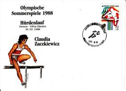 Korea, South Cover Scott #B21 Track And Field Medal Winner Claudia Zaczkiewicz - Summer Olympics 1988 Seoul - Ete 1988: Séoul