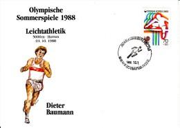 Korea, South Cover Scott #B21 Track And Field Medal Winner Dieter Baumann - Summer Olympics 1988 Seoul - Ete 1988: Séoul