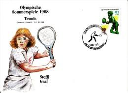 Korea, South Cover Scott #B43 Tennis Medal Winner Steffi Graf - Summer Olympics 1988 Seoul - Summer 1988: Seoul
