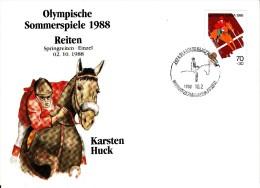 Korea, South Cover Scott #B27 Equestrian Medal Winner Karsten Huck - Summer Olympics 1988 Seoul - Ete 1988: Séoul