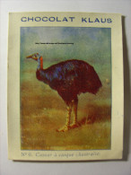 IMAGE CHROMO CHOCOLAT KLAUS - N°6 - CASOAR A CASQUE (AUSTRALIE) - 7cm X 9cm - Oiseau Bird Volatile Australia - Schokolade