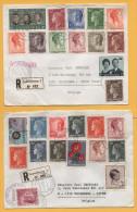 Luxemburg / 2 Einschreiben Von Luxemburg Nach Belgien (Wezembeek) Von 1970 + 1975 - Mischfrankatur - Brieven En Documenten