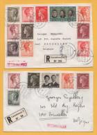 Luxemburg / 2 Einschreiben Von Luxemburg Nach Belgien (Brüssel) Von 1970 - Mischfrankatur - Brieven En Documenten