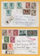 Luxemburg / 2 Einschreiben Von Luxemburg Nach Wezembeek Belgien Von 1970 + 1975- Mischfrankatur - Brieven En Documenten