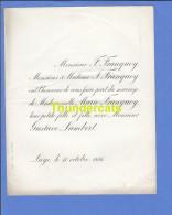 FAIRE PART MARIAGE 1886 FRANQUOY MARIE GUSTAVE LAMBERT LIEGE - Boda