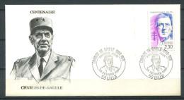 Env 1er Jour - CHARLES DE GAULLE - France - 59 LILLE - Cachet Du 24-02-90 - De Gaulle (General)