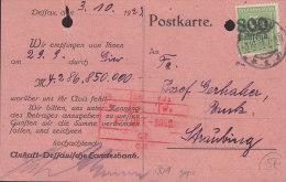 INFLA DR 301 Auf Drucksache Der Anhalt-Dessauischen Landesbank Mit Stempel: Dessau 3.10.1923, Geprüft - Deutschland