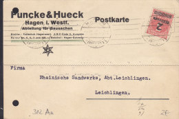 INFLA DR 312 Aa EF Auf Postkarte Der Fa. Funke & Hueck Mit Stempel: Hagen 18.10.1923 - Germany