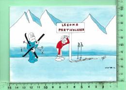 """ILLUSTRATEUR: Guy Delaunay, Skieurs, """" Une Leçon Particulière """" - Cocteau"""