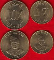 Zaire Set Of 2 Coins: 1 + 10 Zaires 1987-88 Km#13,19 - Zaire (1971-97)