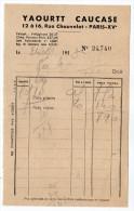 1953-PARIS 15°-12 à 16 Rue Chauvelot --Bulletin De Livraison--YAOURTT CAUCASE-- - Food