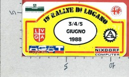 ADESIVO PUBBLICITARIO - 19° Rally Di LUGANO - Giugno 1988 - Cm. 12 X 6 - Adesivi