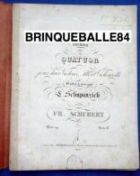 PARTITION FRANZ SCHUBERT D.18 PREMIER QUATUOR POUR 2 VIOLONS ALTO VIOLONCELLE OP 29 ÉDITION 1830 SCHUPPANZIGH - Bowed Instruments