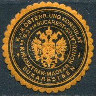 Austria-Hungary Österreich-Ungarn BUCAREST Bukarest Bucharest Romania KONSULAT Consular Letter Seal Siegelmarke Vignette - Austria
