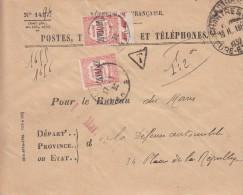 EURE ET LOIR ENV 1932 CHARTRES HOROPLAN LETTRE RECOMMANDEE FRANCHISE => TAXE RECOUVREMENTS N° 63 X2 SARTHE LE MANS - Marcophilie (Lettres)