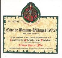 Etiquette  Côte De Beaune-Villages 1972 - Arnoux Pére Et Fils, Chorey Les Beaune - Confrérie Des Chevaliers Du Tastevin- - Bourgogne