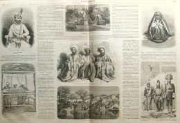 Vue De Ville De Kachmyr - Rumberg-Sing, Maharajah De Kachmyr - Industrie, Métiers à Tisser -  Page Original Double 1863 - Documents Historiques