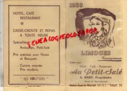 """87 -SAINT JUST MARTEL-LIMOGES- CALENDRIER 1958- HOTEL CAFE RESTAURANT """" AU PETIT SALE """" ROUTE SAINT LEONARD- A. RABY - - Petit Format : 1941-60"""