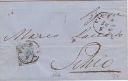 Lettera Da Vicenza Per Schio 1866 Cent 20 Ferro Di Cavallo - Marcophilia