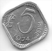 *india  5 Paisa 1974 B  Km 18.6    Unc - Inde