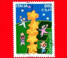 ITALIA - Usato - 2000 - Europa - 45ª Emissione - 800 L. - 0,41 € • Stelle E Bambini - 6. 1946-.. Repubblica