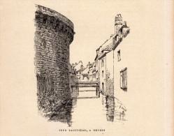 1888 - Gravure Sur Bois - Nevers (Nièvre) - La Tour Saint-Eloi - FRANCO DE PORT - Estampes & Gravures