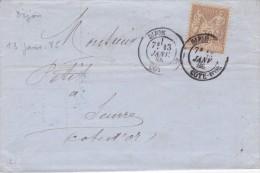 Cachet Type 18  De Dijon  Sur Sage N° 80 Du 13 Janvier 1885 - Postmark Collection (Covers)