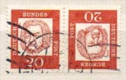Deutschland Bund ZDr. Michel 352 K 4 K 4 Kehrdruck Gestempelt, Bedeutende Deutsche Bach - Zusammendrucke