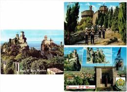 Lot 3 Cartes - Italie - Italy -  Souvenir R.S. MARINO - Multivues - Blason Soldats Gardes - Timbre Basket-ball / Train - Italia